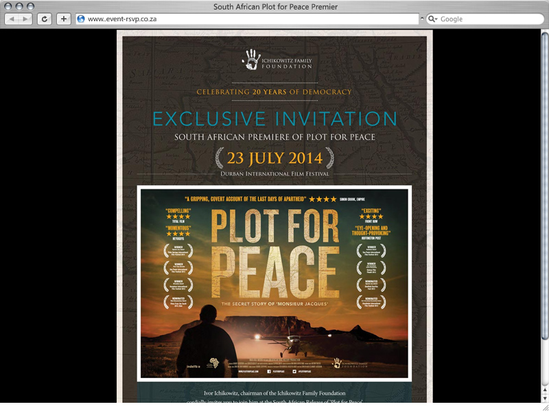 South African Plot for Peace Premier